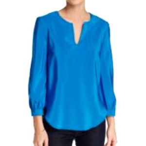 Amanda Uprichard Blue Split Neck Silk Blouse